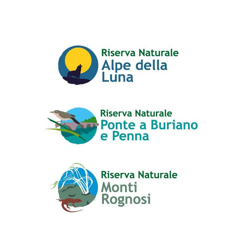 Logotipi delle varie Riserve Naturali della Provincia di Arezzo
