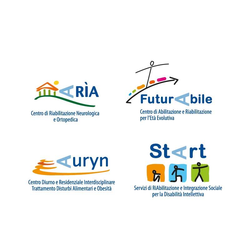 Loghi realizzati per gli ambulatori dell'Istituto di Riabilitazione di Agazzi
