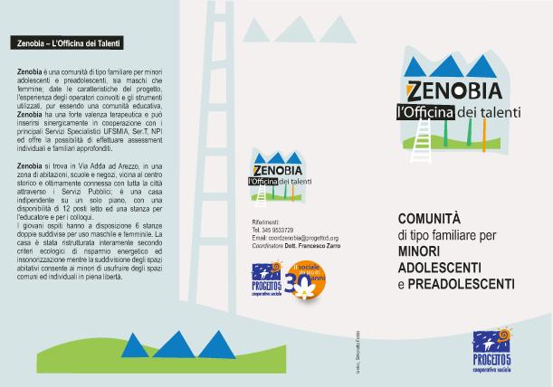 Brochure informativa sulla Comunità familiare Zenobia della Coop. Soc. P5
