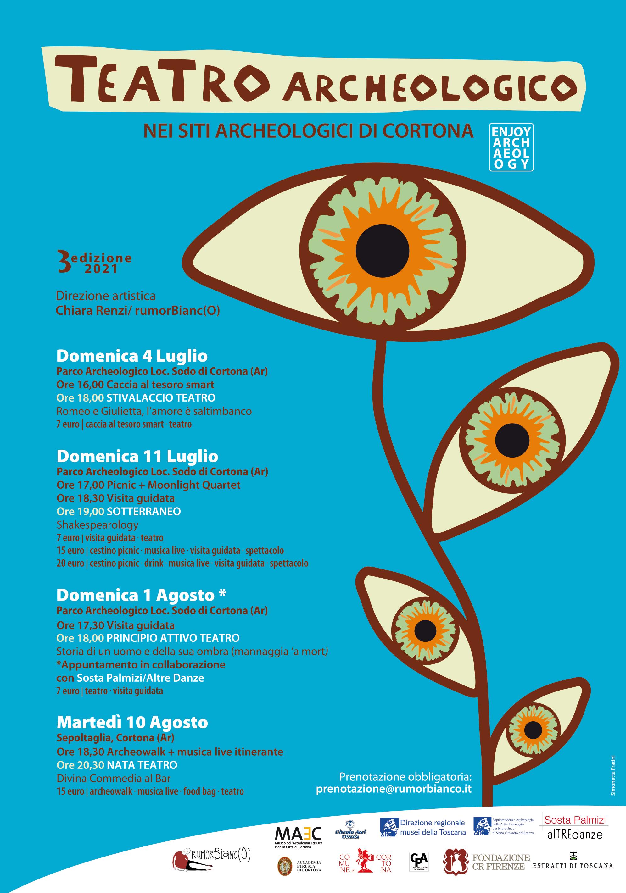 Manifesto rassegna Teatro Archeologico nei siti di Cortona